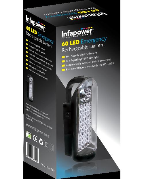 60 LED Emergency Rechargable LED Lantern Torch Light Work Home Car Use Infapower
